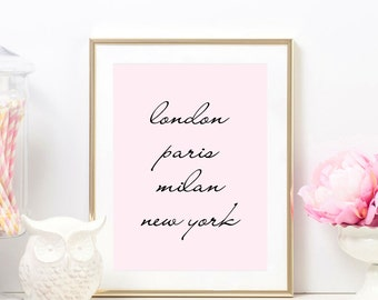 London Paris Milan New York Glam Pink Print Fashion Wall Art Fashion Decor Chic Office Decor Beauty Makeup Room Vanity MUA Poster