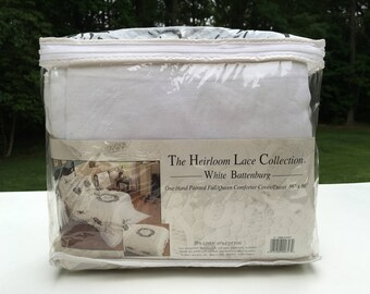 Vintage Deadstock Duvet Cover - Heirloom Lace Collection - White Battenburg - Handpainted Floral Bedding - Queen Size - New, Never Used