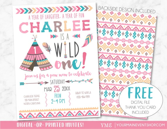 Wild One Birthday Invitation • Girl Tribal TeePee Arrow Feathers Pow Wow Invite Printable • Pink Boho Wild and Free Thank You Card