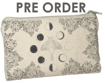PRE ORDER 78 Tarot Luna Moth Zipper Case - Fits Any Tarot Deck - Crystals - Moon Phases - New Age - Elements - Tarot Case - 78Tarot - Moons