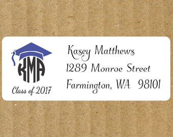 Graduation Round Monogram Address Labels, 90 Labels, Graduation Return Address Labels, Round Monogram, Graduation Round Monogram