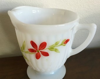 Milk glass creamer pink white with red flowers