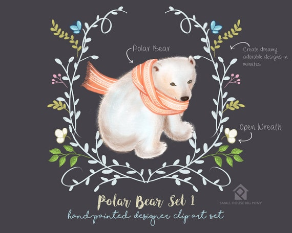 Digital Clipart- Watercolor Flower Clipart, polar bear Clip art, Floral Bouquet Clipart- Polar Bear Set 1