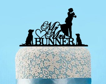 Mr and Mrs Wedding Cake Topper With Dog, Silhouette Cake Topper With Dog,Bride and Groom Cake Topper,Mr and Mrs Last Name Cake Topper