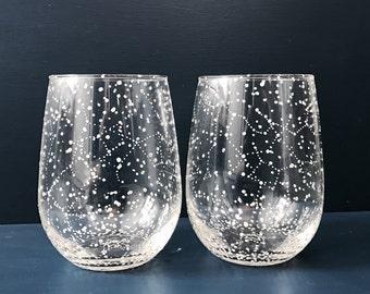 Starry Stemless Wine Glasses - Set of 2 Handpainted Star Constellation Wine Glasses - Custom Order Your Own Set