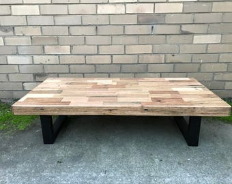 Rustic Reclaimed Hardwood Coffee Table Retro Hardwood Legs Industrial Vintage