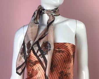 Vintage Silk Scarf- Floral Bird Detail