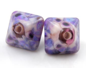 Dreaming Crystal Pair SRA Lampwork Handmade Artisan Glass Donut/Round Beads Made to Order Pair of 2 15mm