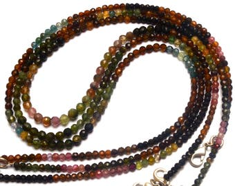 Natural Gemstone Super Quality Multi Color Tourmaline 3 to 5MM Approx. Faceted Round Ball Shape Bead Necklace Multi Color Beads 17 Inch