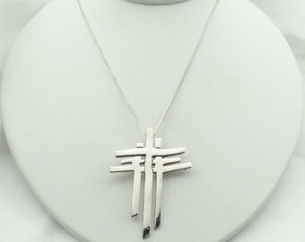 "Unique Triple Cross Sterling Silver Pendant With 18"" Sterling Silver Chain  #THREE-XP2"