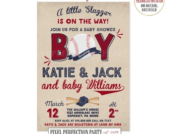 Baseball Baby Shower Invitation Sports Baby Shower Invitation Vintage Baseball Baby Shower Invitation Little Slugger On The Way Baby Shower