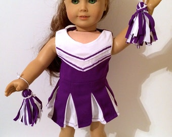Cheerleading Outfit For 18 Inch Doll Clothes Purple and White With Pom Poms 4-Piece Outfit
