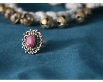 Alvaro, Tibet silver ring with rhodonite, unique