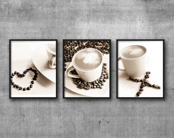Coffee Print Art Set of 3 photos, coffee wall prints, coffee lover gift, food photograph, breakfast nook photo, coffee kitchen print