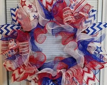 SALE 4th July Wreath, Patriotic Wreath, Memorial Day Wreath, Labor Day Wreath, Deco Mesh Wreath, Handmade Wreath, Ribbon Wreath