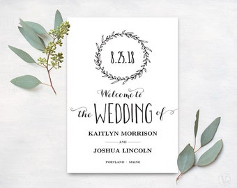 Wedding Program Template, Printable Wedding Programs, Kraft Paper Wedding Program, Editable Text, Classic Wreath VW06