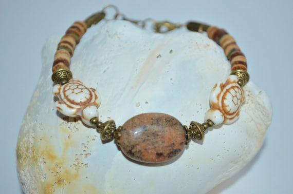 Bracelet Sea Turtles, Coconut Heishi & Sea Turtle Bead Bracelet, Sea Turtle Bracelet, Stone Bead and Sea Turtle Bracelet, Turtle Bracelet