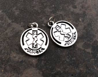 Diabetic Medical Alert Charms package of 2 double sided charms