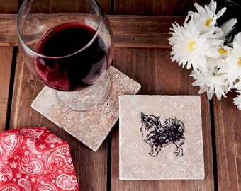 Set of 4 Long-Haired Chihuahua Travertine Stone Coasters