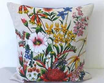 Australian Wildflowers Cushion Cover Waratah Wildflower Pillow Australiana Botanic Cushion Flowers Upcycled Vintage Tea Towel Repurposed