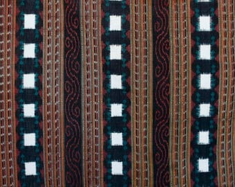 Vintage Indonesian handwoven ikat fabric piece maroon green and white stripes with wavy stripped pattern