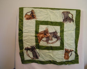 Vintage Equestrian Horse  Green Square Scarf w/Horse Heads
