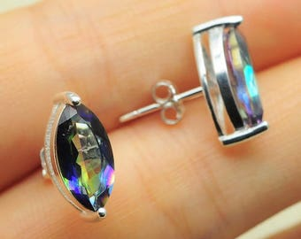 Rainbow Topaz Studs in 925 Sterling Silver
