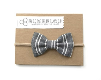 Classic Fabric Bow - Dark Chambray Stripe - Headband or Clip