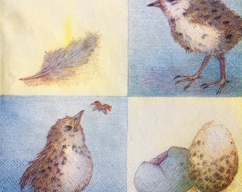 Rare single(one) Ladies Mol napkin Baby chicks & Eggs  for collectie,decoupage ,decoupage under glass,scrapbooking and other art and crafts