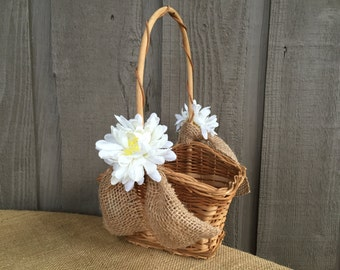 Flower girl basket/ rustic flower girl basket/ woodland flower girl basket/ rustic wedding/ woodland wedding/rattan basket/wedding accessory