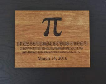 Pi Day engraved cutting board or serving board. Great math themed cutting board, great geek gift, graduation gift or teachers gift!