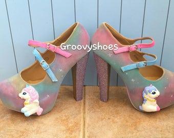 Unicorn heels. Fantasy unicorn shoes. Unicorn ladies shoes