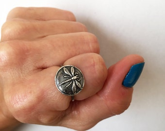 Dragonfly Ring, Silver Dragonfly,  Dragonfly Jewelry, Sterling Dragonfly, Damselfly Ring, Insect Jewelry, Dragonfly Rings
