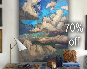 """Extra Large Canvas Painting """"Clouds and Sky 8"""" Original Art 56"""" inches"""