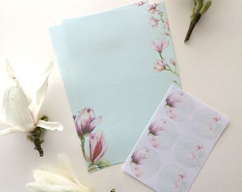 Watercolour Pink Magnolia Writing Set-Stationery Lined