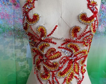 Pure hand made dazzling red/golden/clear AB colour sew on Rhinestones applique crystals patches 36*32cm DIY dress accessory
