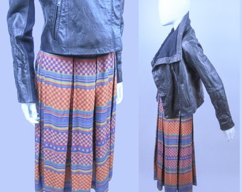 80s striped checkered pleated printed Liz Claiborne midi skirt