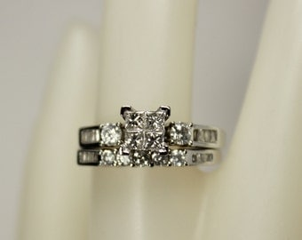 Vintage Ladies 10K White Gold 1.12ctw Diamond Engagement Ring & Wedding Band Set Bridal Set Sz 7.25 c1980s