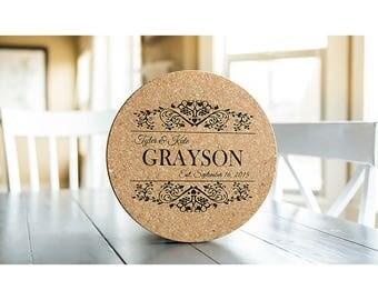 Personalized Jumbo Cork Trivets - 1 Trivet - Grayson Style