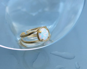 White Opal. Gold opal ring. Opal gift ring. Fire Opal Ring. Adjustable Opal ring. Opal rings for women. Blue opal. Everyday opal ring. Stack