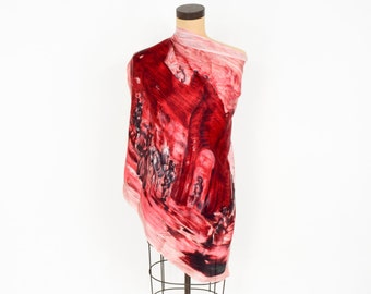 50s Mission Theme Scarf | Brick Red Watercolor Scarf