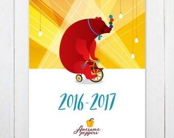 Jewish Calendar 2016-2017, Hebrew Calendar 2016-2017, Jewish planner, לוח שנה עברי מאוייר 2016-2017, Israel Calendar 2016-17, לוח שנה