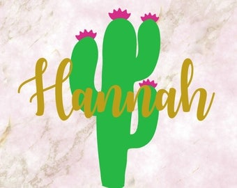 Cactus VINYL DECAL/TICKER with your name or monogram Personalized