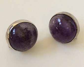 William Spratling Taxco Sterling Silver Amethyst Earrings, c. 1940s