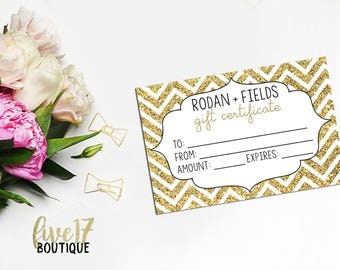 Rodan and Fields Gold Chevron Gift Certificate | INSTANT DOWNLOAD