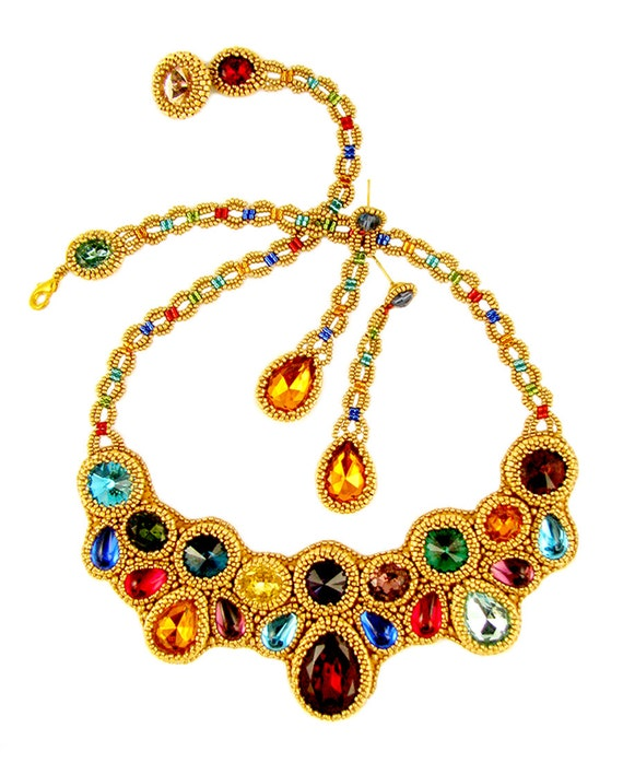 Scheherezade bead embroidery necklace earrings kit by lauren