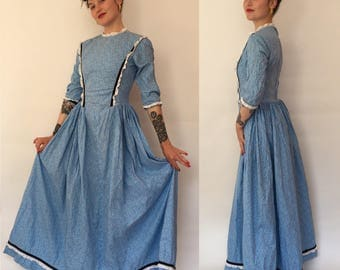 Small 1970s prairie girl blue floral cotton long dress/70s day dress