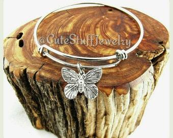 Handmade Butterfly Bracelet, Butterfly Bangle, Adjustable Bangle Bracelet, Silver Butterfly Jewelry, Insect Bracelet, Boho Bracelet