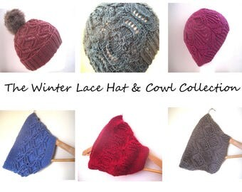 The Winter Lace Collection E-Book- Hats & Cowls knitting patterns - Instant Download PDF