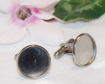 Stainless Steel cufflinks with cabochon pad hypoallergenic 18mm (blank/ with caboshon)